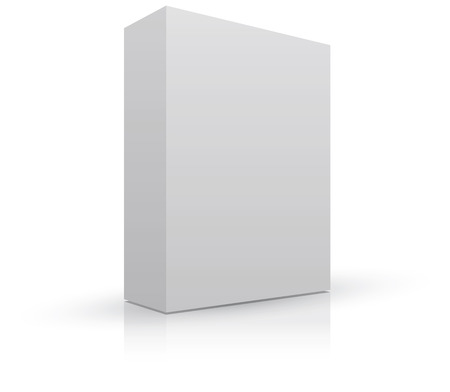 Blank box package to add your own image, with shadow and reflection. Stock Photo