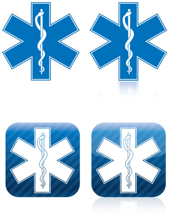 Emergency medical and rescue symbol, rod of asclepius Stock Photo