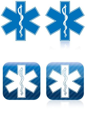 estrella de la vida: Símbolo médico y de rescate de emergencia, vara de Asclepio