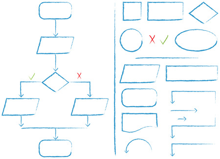 Complete flow chart and flow chart elements in a sketch style Stock Photo