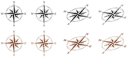 Wind Rose Compass in multiple styles, clean and grunge Stock Photo