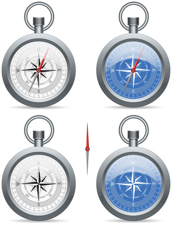 Modern (contemporary) compass with a needle and rose wind face, in white and blue