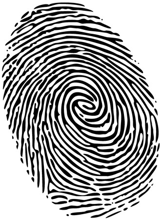 Fingerprint of a thumb, solid black ink on white