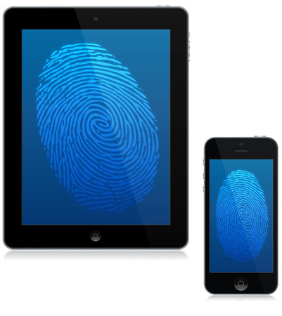 Tablet computer and mobile phone with a digital fingerprint scan on screen