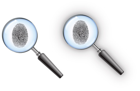 Private detective magnifying glass with a fingerprint in the lens