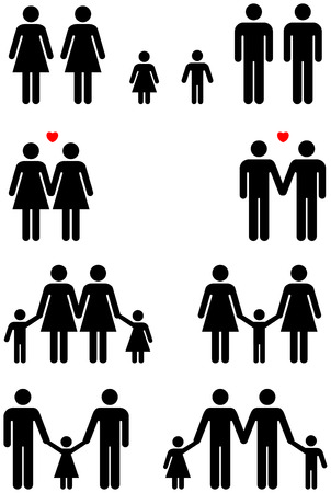 Family icons of same sex couples in black and white graphic style.  Stock Photo