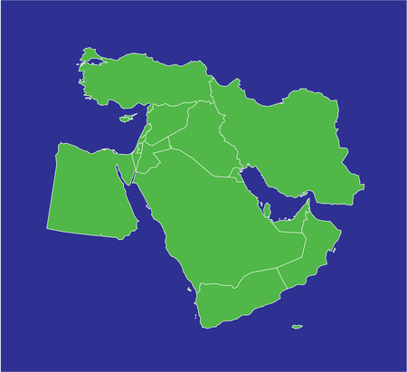 A country map of the middle east in green and blue