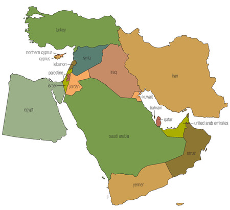 A country map of the middle east in full color with the country names called out