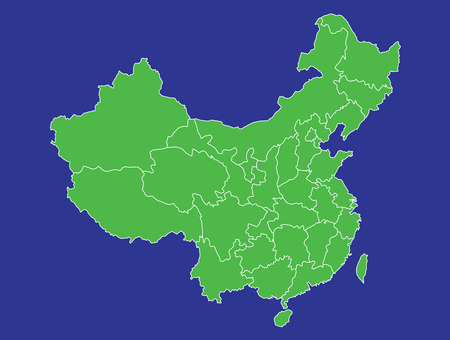 A map of China showing its provinces in green and blue