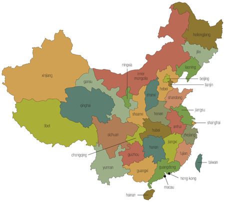 hubei province: A multicolored map of china with the province names called out Stock Photo