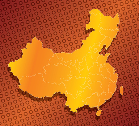 A abstract, stylized, province map of china in orange and yellow