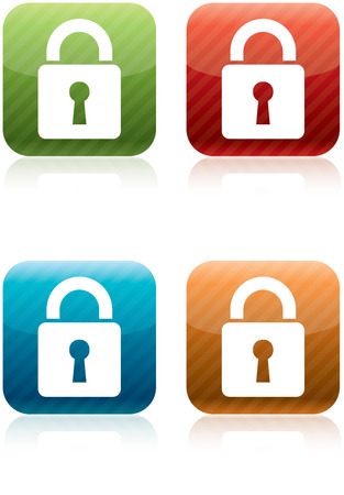 Four padlock security icons, green, red, blue and orange.