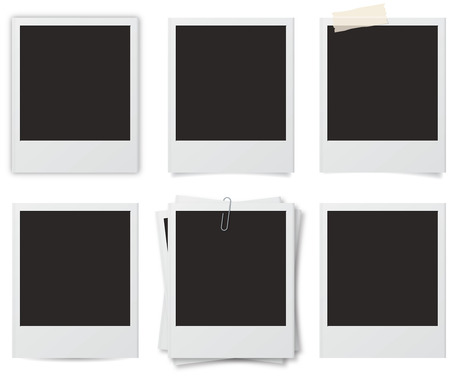 Six styles of instant photo frames with shadows Stock Photo