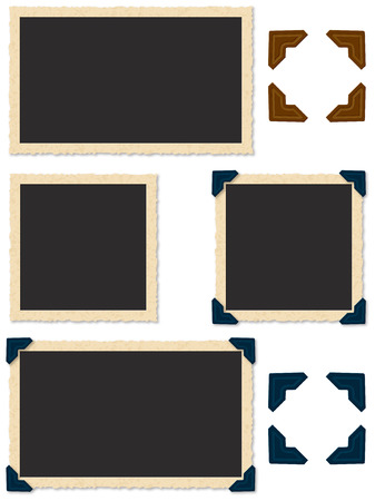 Square and rectangle photo edges with photo corners