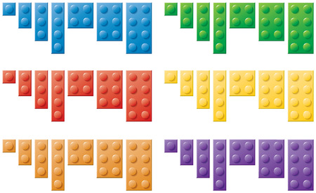A series of colored plastic locking toy blocks Stock Photo