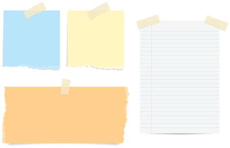 papel de notas: Varios estilos de notas de papel rasgados y forrados con cinta