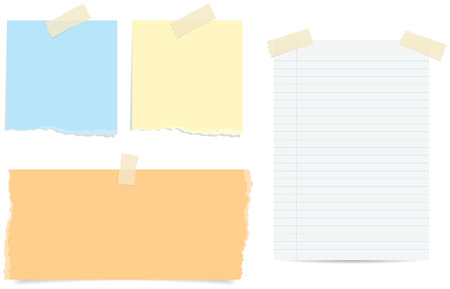 Various styles of torn and lined paper notes with tape