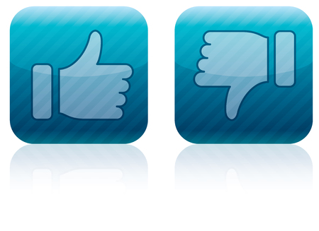 Like (thumbs up) and dislike (thumbs down) icons Stock Photo