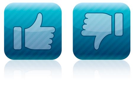 Like (thumbs up) and dislike (thumbs down) icons Stock Photo