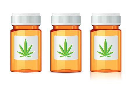 Medicine Bottles with Medical Marijuana (Cannabis, CBD) Zdjęcie Seryjne