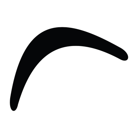 A black and white silhouette of a boomerang