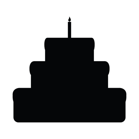 A black and white silhouette of a cake and candle on top Illustration