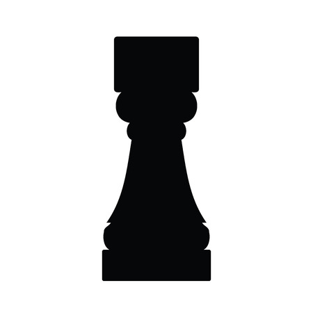 A black and white silhouette of a chess piece - Castle Illustration