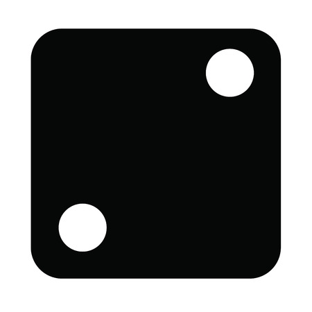 A black and white silhouette of a dice face - two