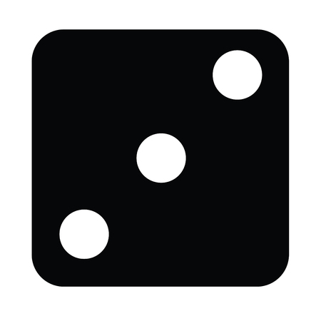 A black and white silhouette of a dice face - three Illustration