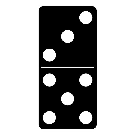 A black and white silhouette of Domino game piece Ilustração