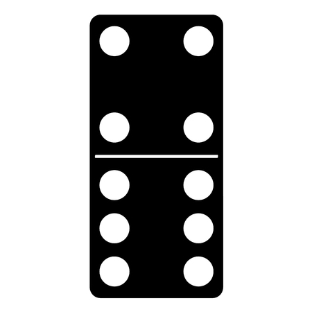 three dots: A black and white silhouette of Domino game piece Illustration