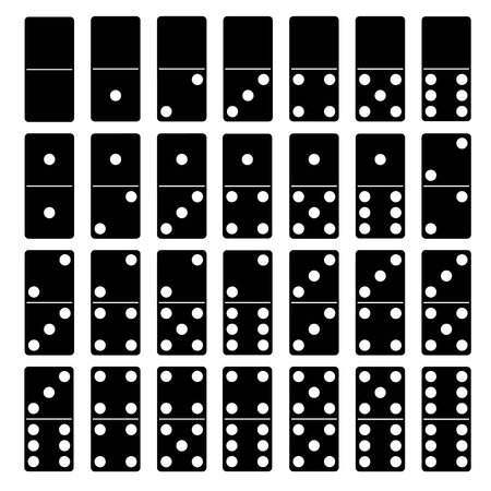 three dots: Black and white silhouettes of Domino game pieces Illustration