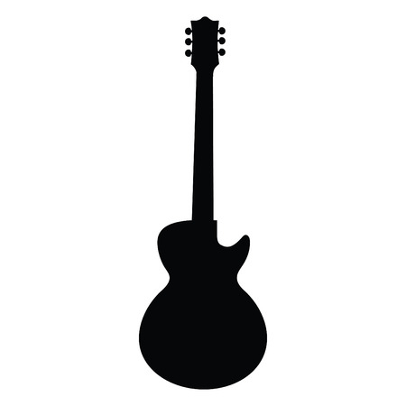 A black and white silhouette of an electric guitar