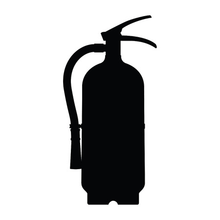 A black and white silhouette of a fire extinguisher