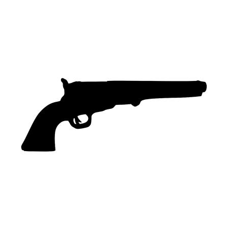 A black silhouette of a handgun