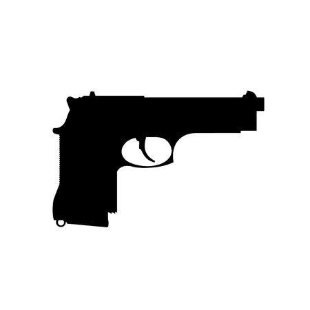 A black and white silhouette of a handgun