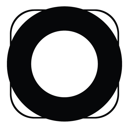 A black and white silhouette of a floatation ring
