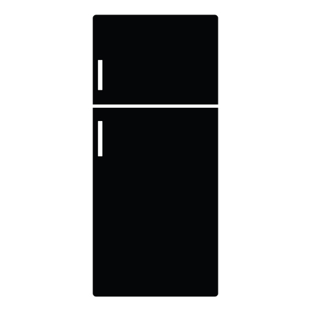 A black and white silhouette of a fridge