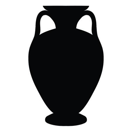 Una silhouette nera e nera di un antico vaso greco