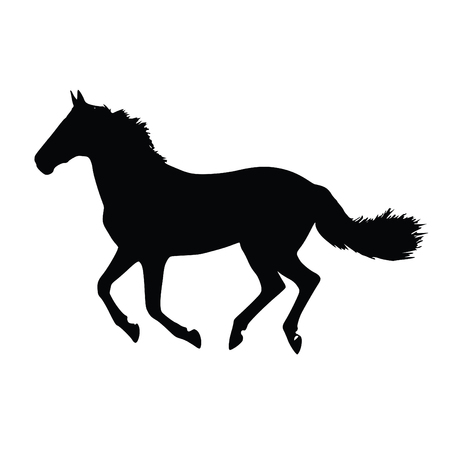 A black and white silhouette of a horse running Иллюстрация