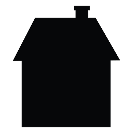 A black and white silhouette of a simple house Иллюстрация