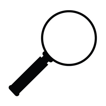 A black and white silhouette of a magnifying glass