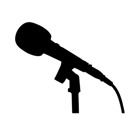 Black and white microphone with stand and cable silhouette Иллюстрация