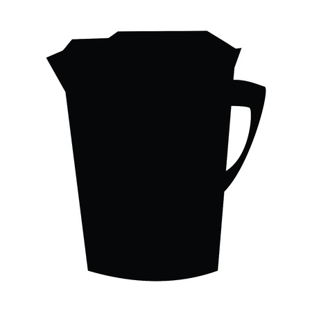 A black and white silhouette of an electric kettle
