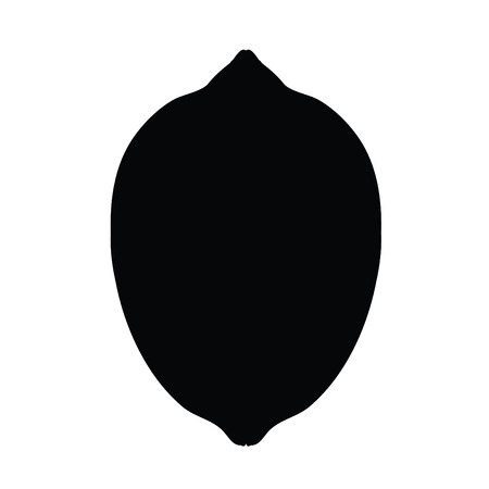A black and white silhouette of a lemon Иллюстрация