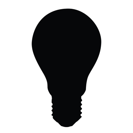 A black and white silhouette of a light bulb