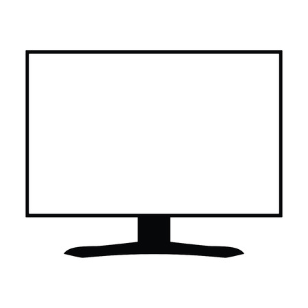 A black and white silhouette of a computer monitor with a white screen