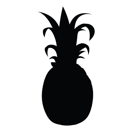 A black and white silhouette of a pineapple