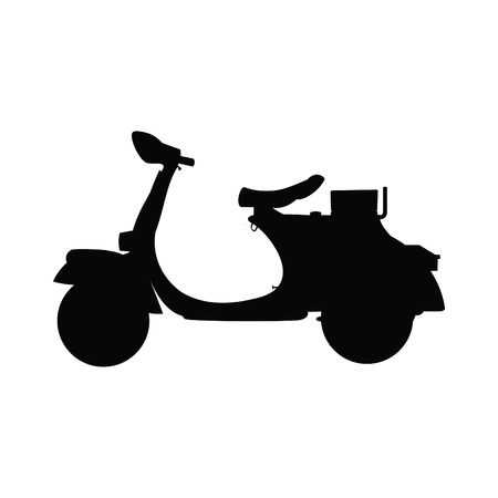 A black and white silhouette of a moped  scooter Illustration