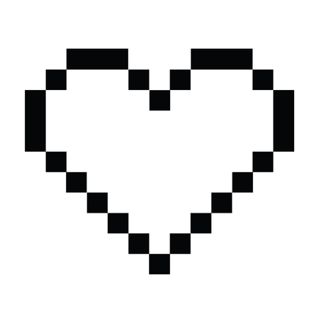 Black and white pixel heart Иллюстрация